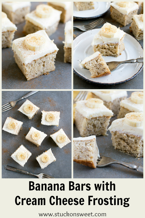 Banana Bars with Cream Cheese Frosting - an easy and delicious dessert everyone will love! #stuckonsweet #dessert #banana