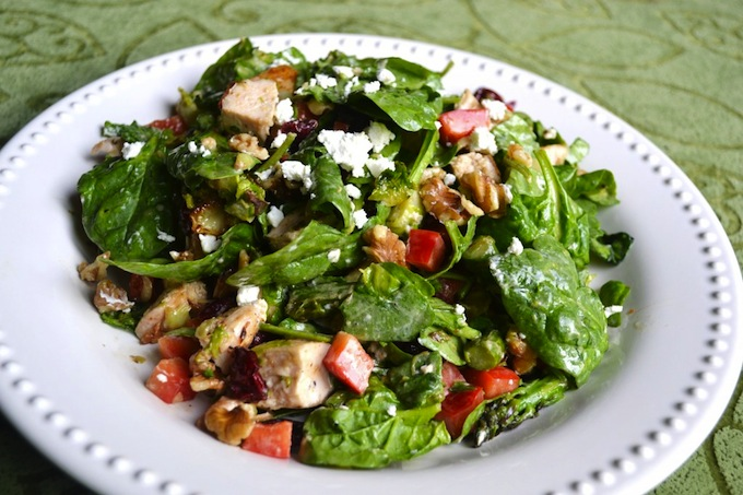 Spinach Chicken Salad with Goat Cheese   stuckonsweet.com