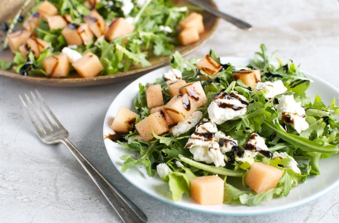 Arugula Cantaloupe & Feta Salad with Balsamic Glaze   www.stuckonsweet.com