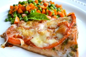 Roasted Tomato Salmon with Peas and Carrots
