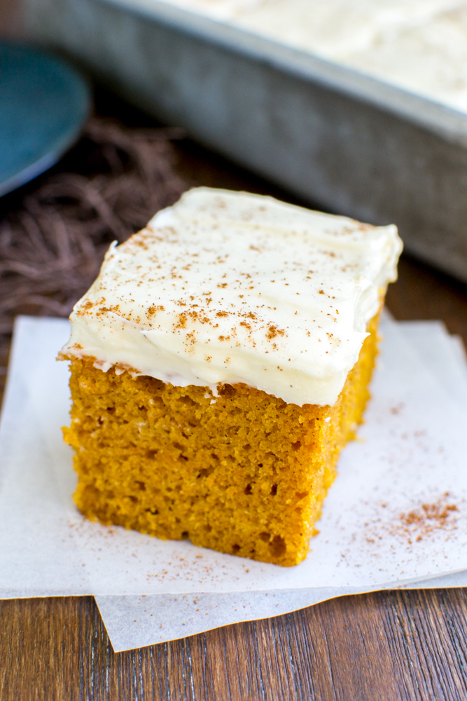 Pumpkin Bars with Cream Cheese Frosting | www.stuckonsweet.com