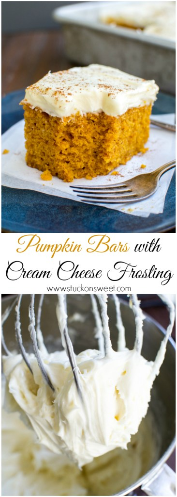 Pumpkin Bars with Cream Cheese Frosting |www.stuckonsweet.com