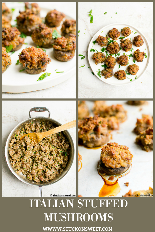 Italian Stuffed Mushrooms are the best appetizer for the holidays! This recipe is so good! #stuckonsweet #appetizer #recipes #holidays #mushrooms