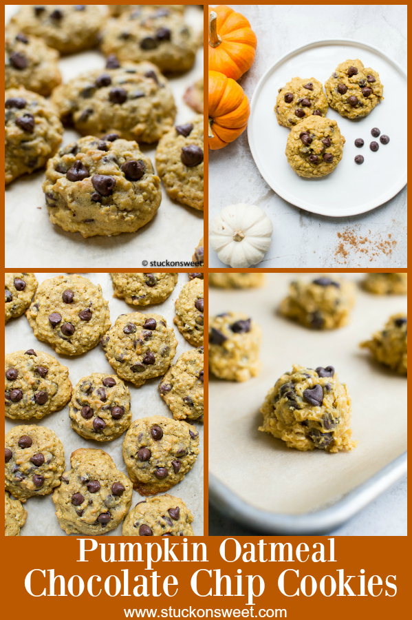 Pumpkin Oatmeal Chocolate Chip Cookies - a great fall cookie recipe made with pure pumpkin and spices! #stuckonsweet #pumpkin #cookies #recipe