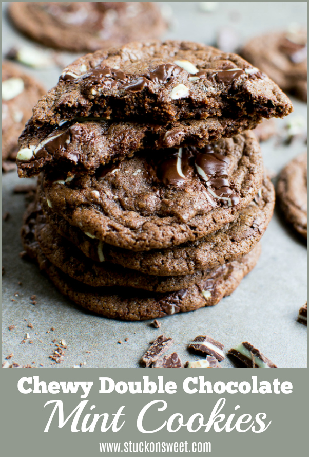 Chewy Chocolate Mint Cookies are so good. This cookie recipe is great for St. Patrick's Day! #stuckonsweet #cookie #recipe