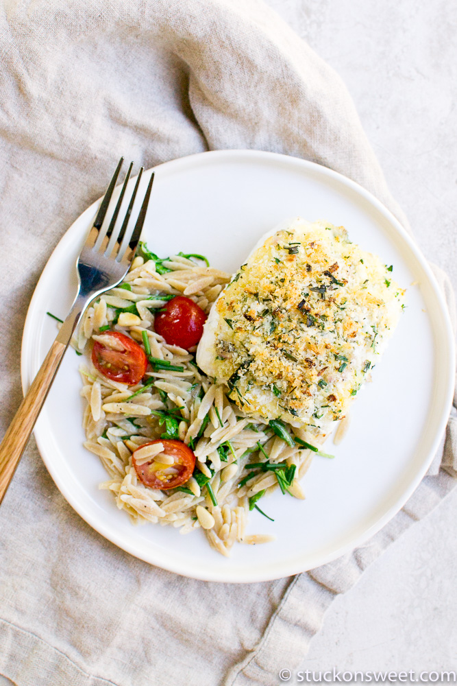 Baked Halibut with a Lemon Herb Crust