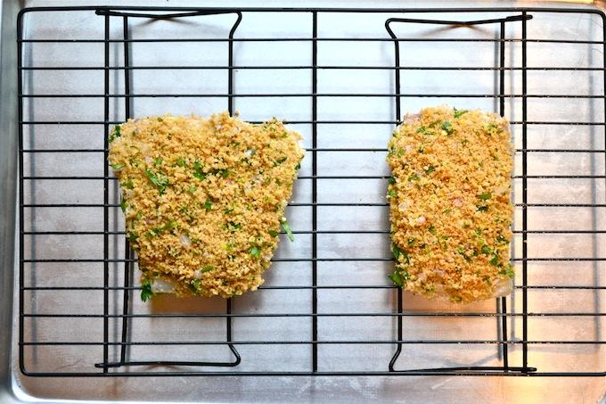 Lemon and Parmesan Panko Crusted Halibut