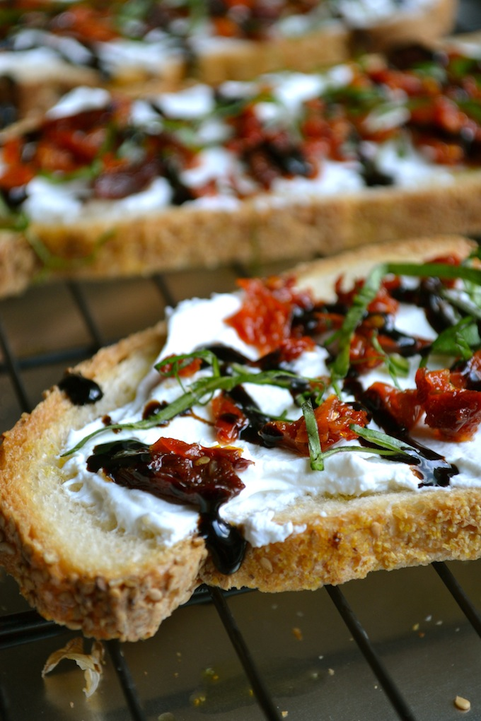 Goat Cheese And Sun Dried Tomato Crostini Stuck On Sweet
