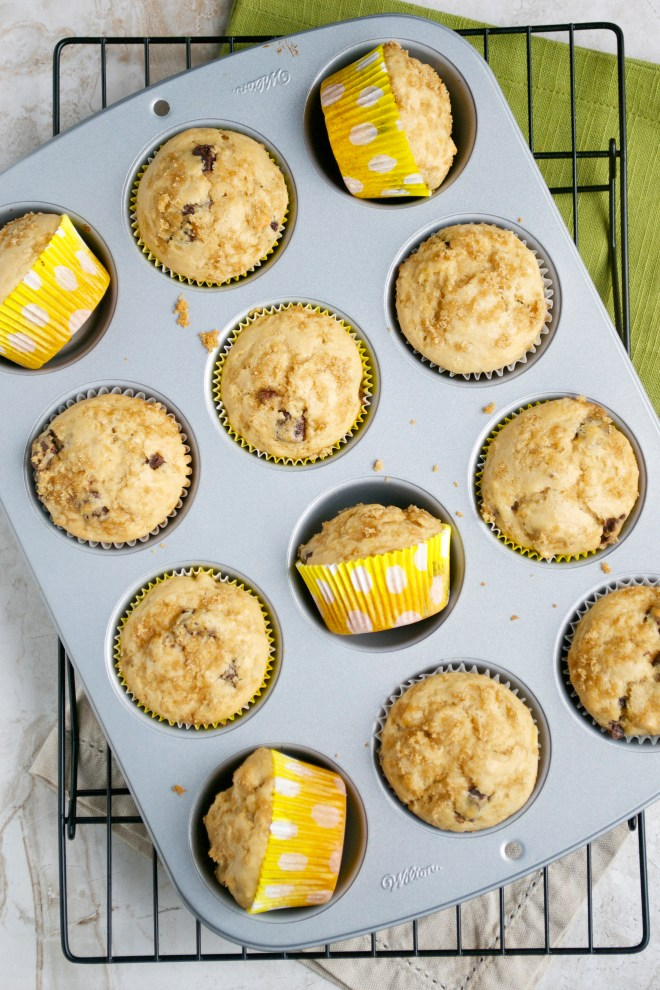 Peanut Butter Banana Chocolate Chip Muffins - stuck on sweet