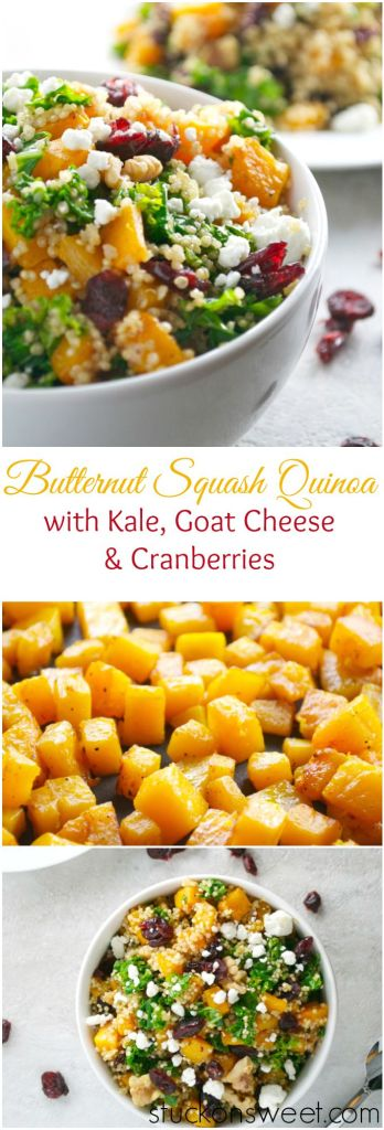 Butternut Squash Quinoa with Kale, Goat Cheese and Cranberries | stuckonsweet.com