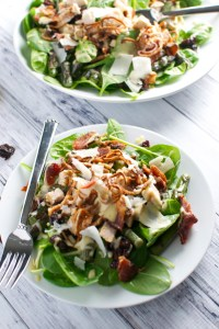 Spinach Salad with Cherries, Crispy Shallots, and Bacon