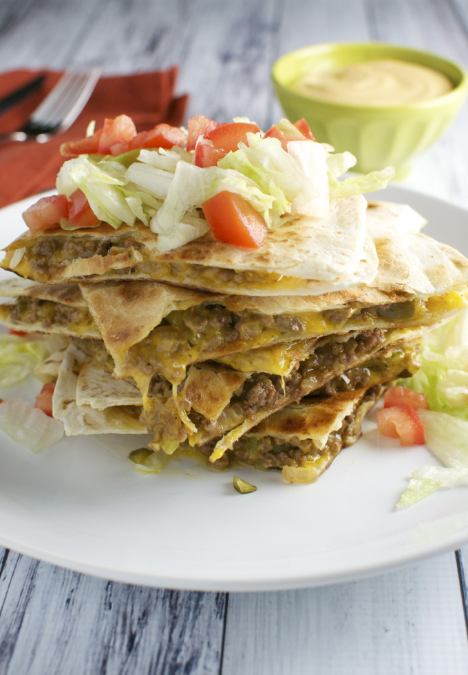 Cheeseburger Quesadillas / stuckonsweet.com