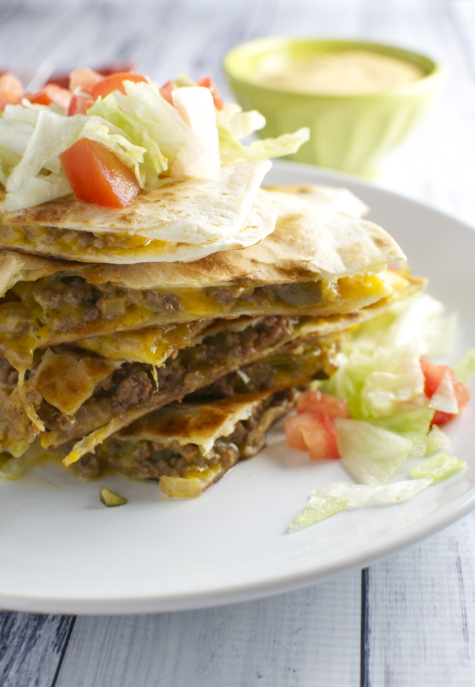 Cheeseburger Quesadillas / stuckonsweet.com
