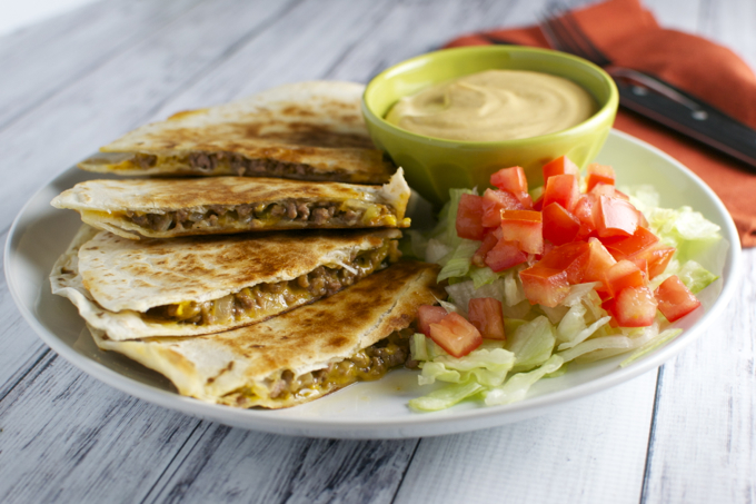Cheeseburger Quesadilla / stuckonsweet.com