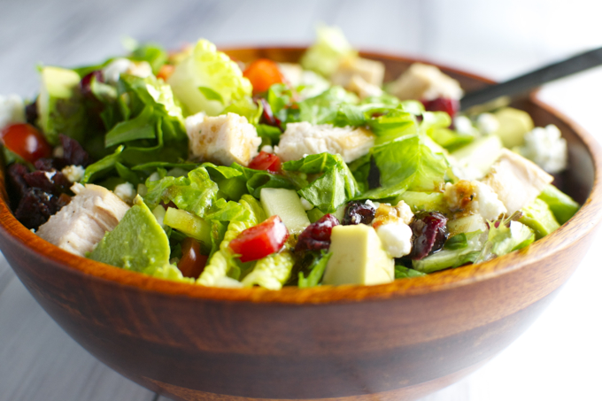 Italian Chicken Salad with Vegetables, Cranberries and Goat Cheese 2  stuckonsweet.com