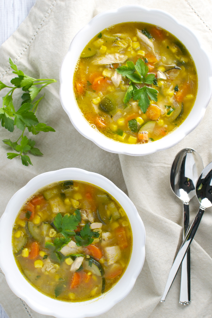 Vegetable Corn Soup / stuckonsweet.com