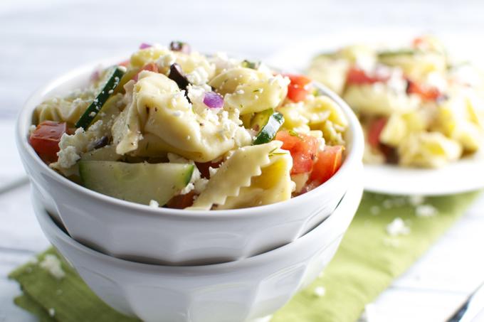 Greek Tortellini Salad - stuckonsweet.com