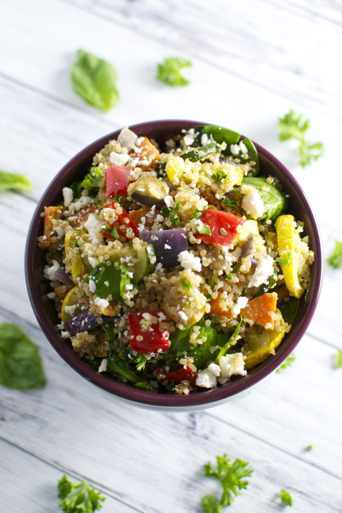 Roasted Vegetable Qunioa Salad | stuckonsweet.com