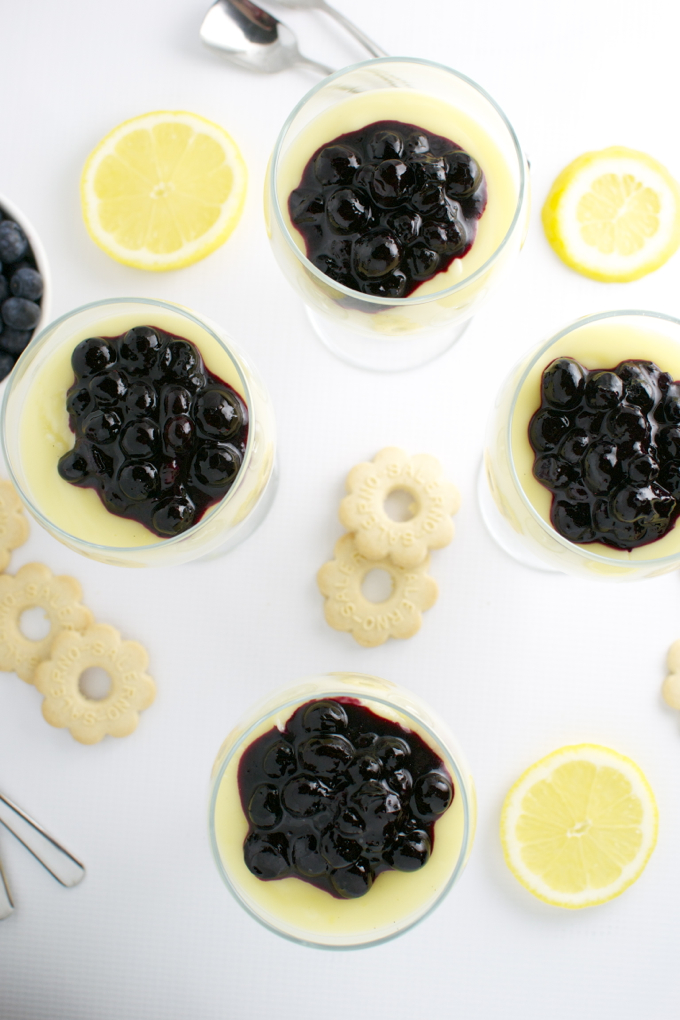 Lemon Pudding with Blueberries | stuckonsweet.com
