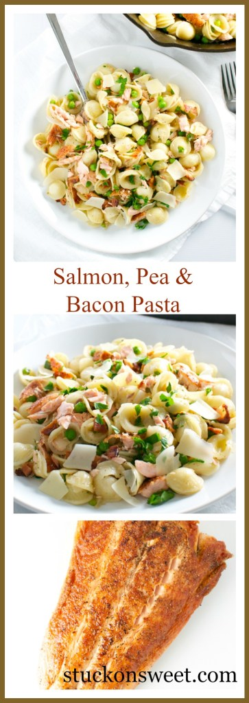 Salmon, Pea and Bacon Pasta Collage