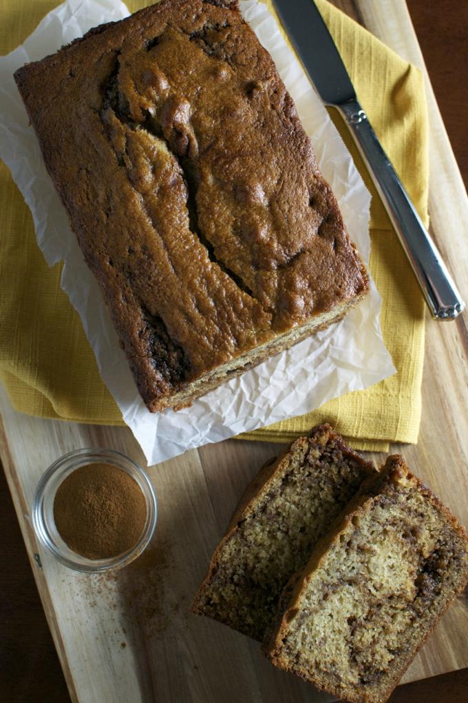 Cinnamon Swirl Banana Bread   stuckonsweet.com