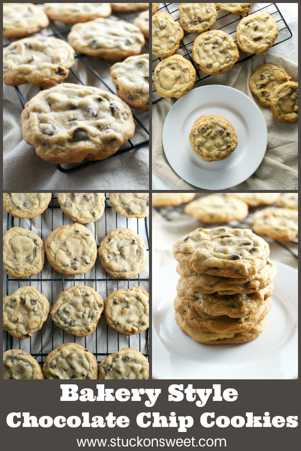 Bakery Style Chocolate Chip Cookies - soft, chewy and crispy. #stuckonsweet #chocolatechipcookies #recipe