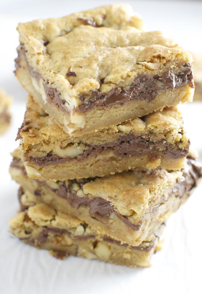 Nutella Walnut Cookie Bars   stuckonsweet.com