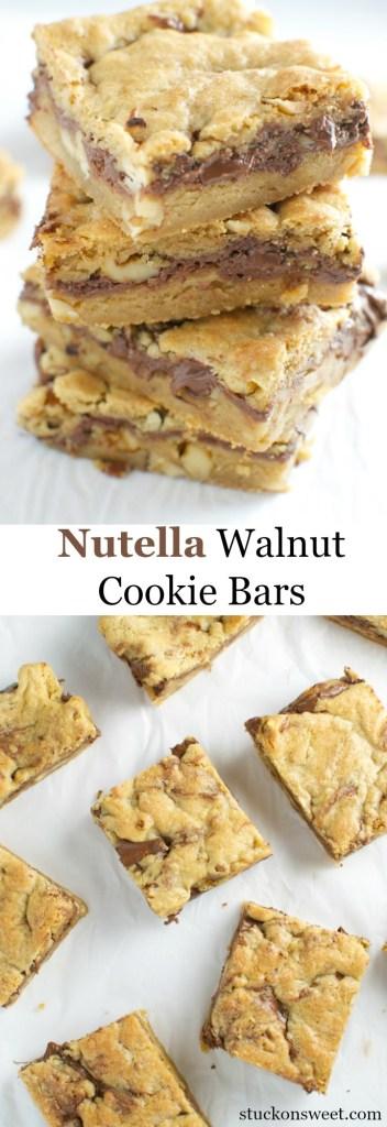 Nutella Walnut Cookie Bars | stuckonsweet.com