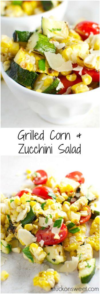 Grilled Corn and Zucchini Salad | stuckonsweet.com