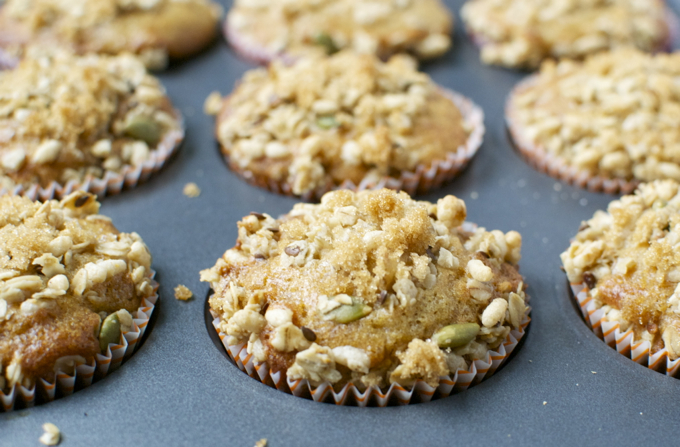 Brown Sugar Raisin Muffins with Pumpkin Granola Crumble 5