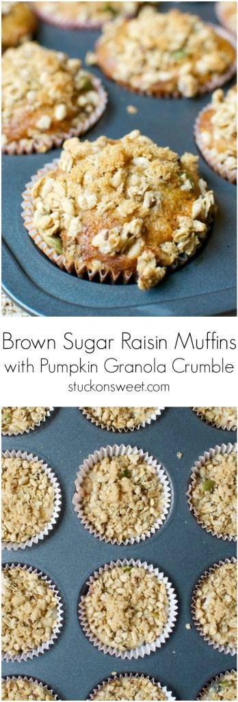 Brown Sugar Raisin Muffins with Pumpkin Granola Crumble | stuckonsweet.com