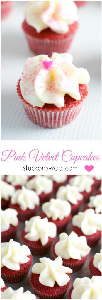 Pink Velvet Cupcakes | stuckonsweet.com