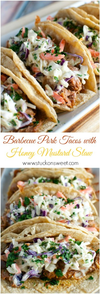 Barbecue Pork Tacos with Honey Mustard Slaw. A slow cooker recipe that's perfect for game day or a weeknight meal!| www.stuckonsweet.com