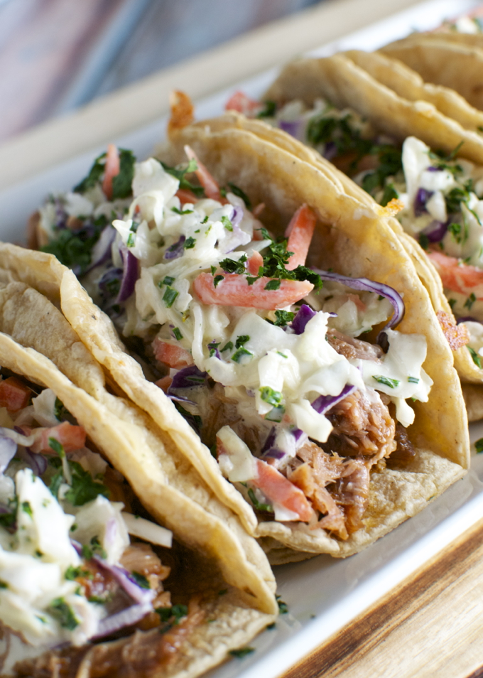 Barbecue Pork Tacos with Honey Mustard Slaw | www.stuckonsweet.com