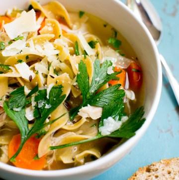 Slow Cooker Chicken Noodle Soup | www.stuckonsweet.com