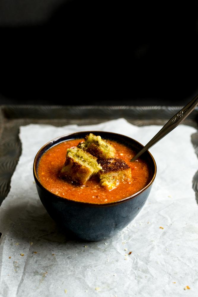 Tomato Soup & Pesto Grilled Cheese   www.stuckonsweet.com