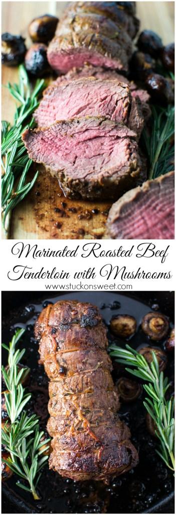 Marinated Roasted Beef Tenderloin with Mushrooms | www.stuckonsweet.com