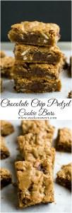 Chocolate Chip Pretzel Cookie Bars | www.stuckonsweet.com