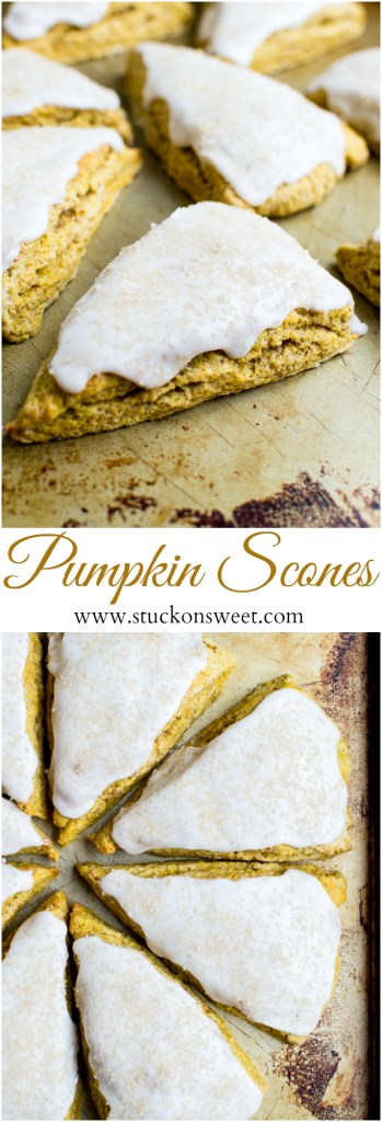 Perfect Pumpkin Scones with a thich vanilla glaze!