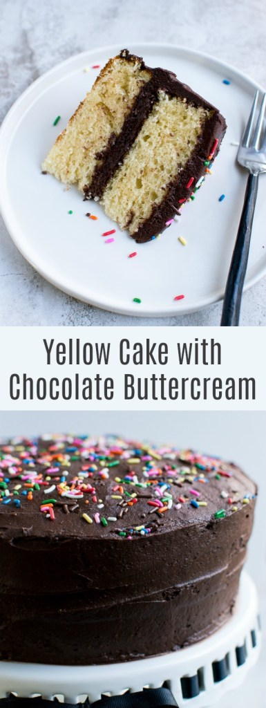 Moist and Crumbly Yellow Cake Recipe with Chocolate Buttercream Frosting