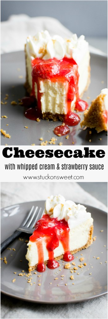 A classic cheesecake recipe with strawberry topping that is super creamy and light. This is a favorite dessert in my house!