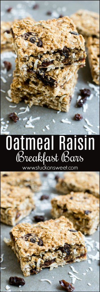 Healthy Breakfast Bars are easy to make! The perfect on the go breakfast! Made with oats, whole Wheat flour, raisins, coconut and sweetened with honey!
