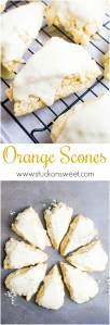 These are so good! A buttery scone freshened up with orange zest and orange juice topped with a thick orange glaze.