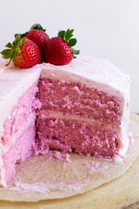 Strawberry Cake {From Scratch}