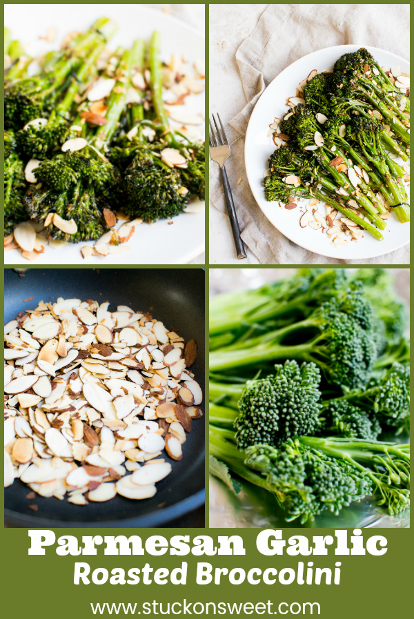 Parmesan Garlic Roasted Broccolini is a simple and delicious side dish to any meal #stuckonsweet #sidedish #vegetables