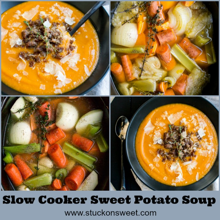 This sweet potato soup is made in the slow cooker and garnished with sausage and parmesan cheese. It's an easy dinner recipe! #stuckonsweet #easydinner #soup