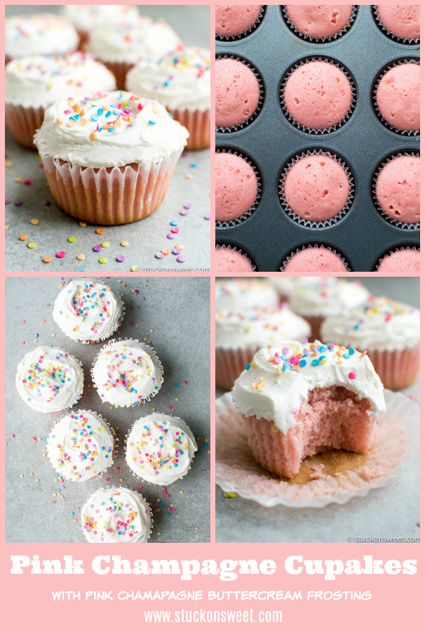 Pink Champagne Cupcakes with Pink Champagne Buttercream Frosting are the perfect dessert for V-Day, bridal showers or simply for fun! #stuckonsweet #dessert #cupcakes