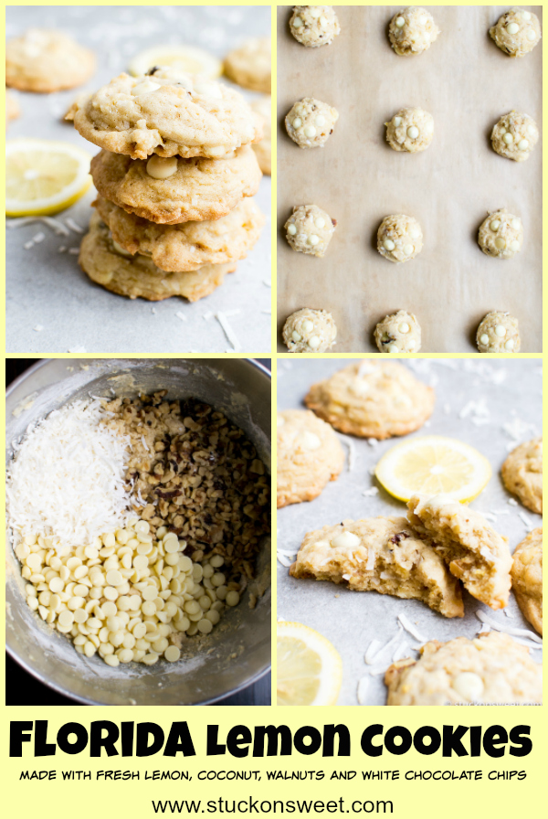 Florida Lemon Cookies are downright amazing. Made with fresh lemon, walnuts, white chocolate chips and coconut. #cookies #lemon #dessert #stuckonsweet