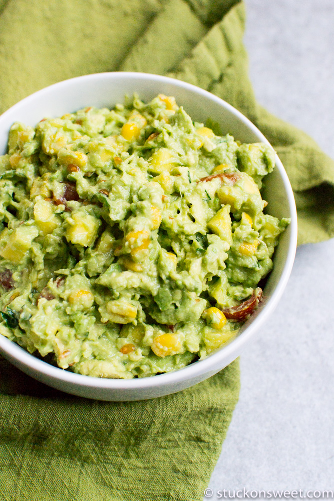 Fresh KID FRIENDLY guacamole made with mangos, corn and tomatoes