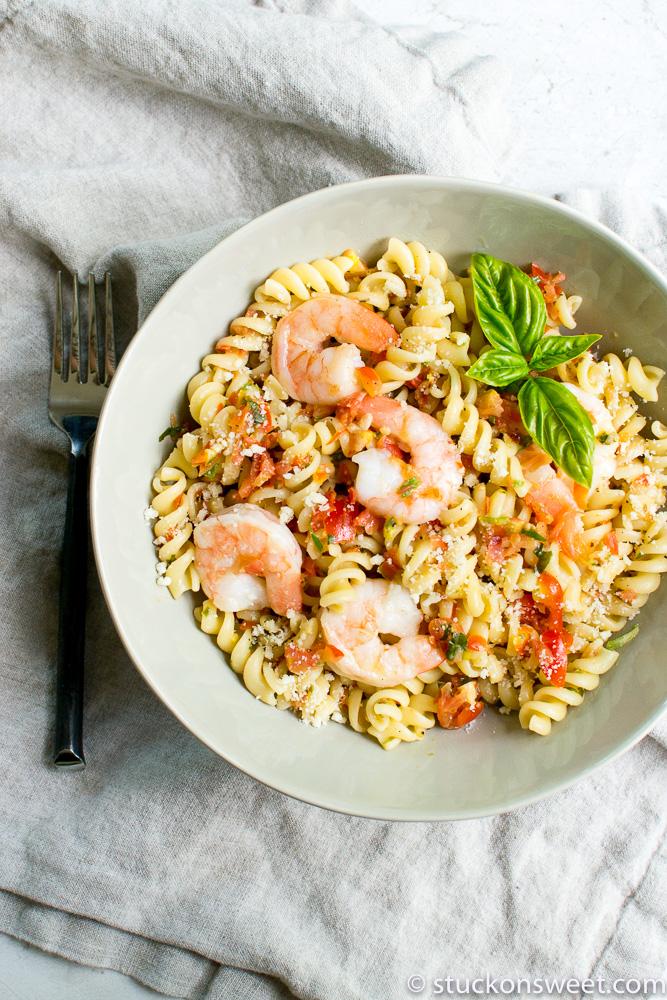 Fresh Bruschetta pasta with shrimp